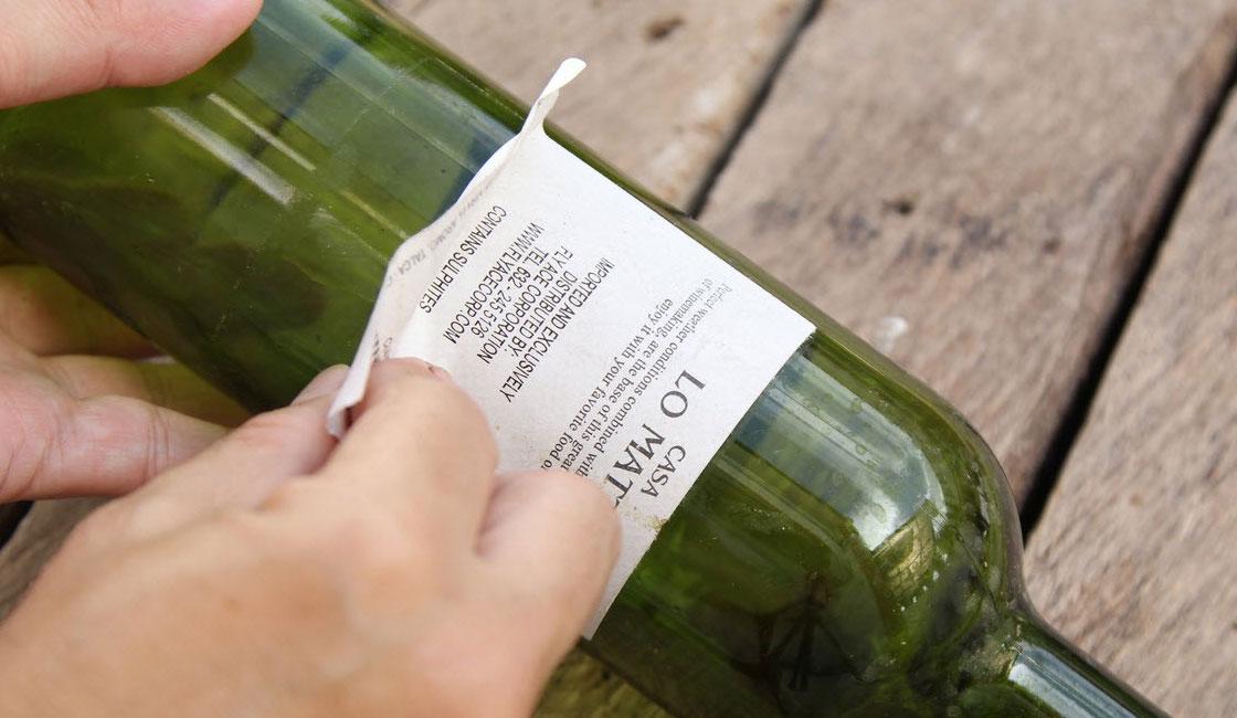 как снять этикетку с бутылки